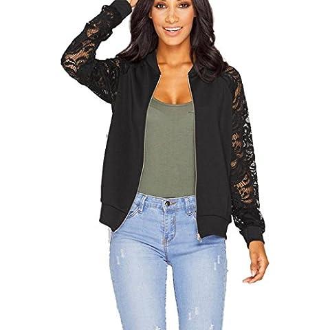 Fortan A maniche lunghe in pizzo giacca sportiva del rivestimento del vestito casuale Outwear (Pelliccia Bomber Giacca In Pelle)