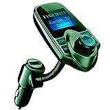 VicTsing Trasmettitore FM Bluetooth, FM Trasmettitore Bluetooth per Auto, 1,44'' Grande Schermo Ricevitore Bluetooth Auto, Car Kit Vivavoce per Scheda TF, con 3.5mm Porta Audio, Verde
