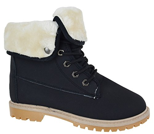 WOMENS LADIES FLAT FUR LINED GRIP SOLE WINTER ARMY COMBAT ANKLE BOOTS...
