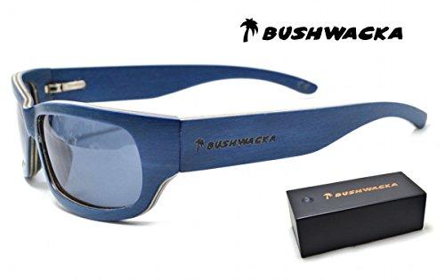 Blau Laminat (BUSHWACKA Sierra Blau Polarisiert Handgemachte hölzerne Laminat Sonnenbrille Gebogene Designer-Sonnenbrille Holz Sonnenbrillen)