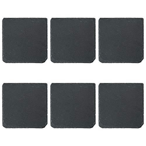 Bar-set 6 Stück (Argon Tableware Quadratische Schieferplatten - Untersetzer-Set - 6 Stück)