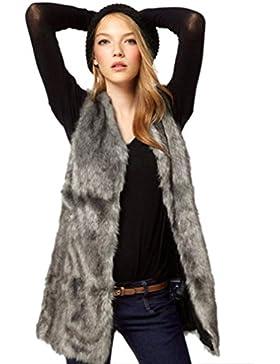 Internert Chaleco largo de mujeres chaleco Chaqueta de piel sintética Abrigo cálido sin mangas de invierno