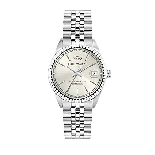 Philip Watch Women's Watch, Caribe Collection, Quartz Movement and Three Hands Version with Date, Equipped with a Stainless Steel Bracelet - R8253597543