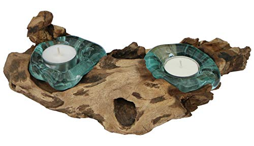 Balibarang-Shop Geschenk Deko Gamal Wurzelholz Teelichthalter Wurzel Holz Teakholz Glas Teelicht