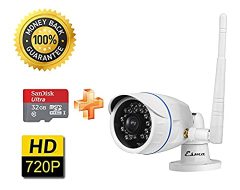 Eshenma® Wi-Fi HD(1280X720P) Smart Caméra IP Étanche IP66 pour l'extérieur