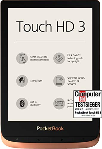 PocketBook e-Book Reader \'Touch HD 3\' (16 GB Speicher; 15,24 cm (6 Zoll) E-Ink Carta Display; SMARTlight; Wi-Fi; Bluetooth) in Kupfer