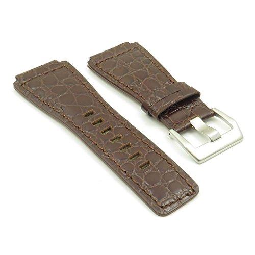 strapsco dunkelbraun Alligator-Leder Band Uhrenarmband für Bell & Ross Größe 24mm