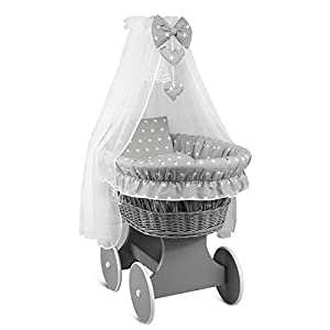 Wicker Wheel Moses Basket Baby Full Bedding Set Canopy Grey/Small White Stars on Grey ...   2