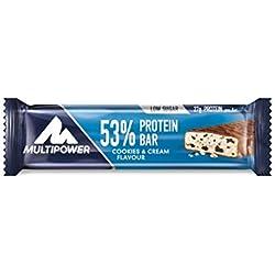 Multipower 53% Protein Bar – 24 x 50 g Eiweißriegel Box – Cookies and Cream – Fitnessriegel mit 53 % hochwertigem Protein – 27 g Eiweiß pro Proteinriegel