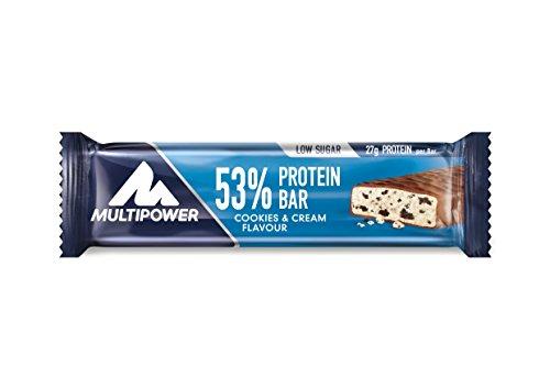 Multipower 53% Protein Bar – 24 x 50 g Eiweißriegel Box – Cookies and Cream – Fitnessriegel mit 53% hochwertigem Protein – 27 g Eiweiß pro Proteinriegel