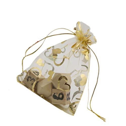 Floridivy Gold100pcs Stamping Herz Bunt Organza Beutel Wedding Favor Schmuck-Geschenk-Süßigkeit Beutel