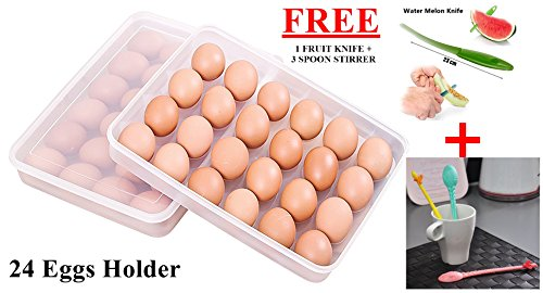 CrownLit Plastic Egg Holder Tray with Lid, 31.5 x 4.5 x 23 cm