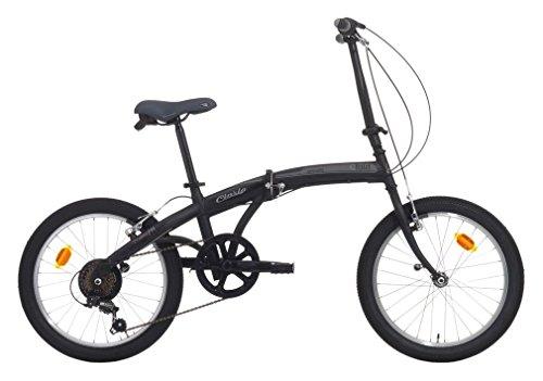 Cicli Cinzia Bicicletta 20' Citybike City Fold 6/V Revo Shift V-Brake all Nero Op./Grigio, Unisex – Adulto