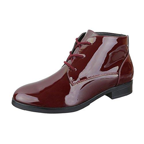 Chelsea Boots Damen Schuhe Chelsea Boots Blockabsatz Schnürer Schnürsenkel Ital-Design Stiefeletten Weinrot