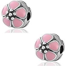Hoobeads Ciondolo in argento sterling 925, con fiore di ciliegio smaltato rosa, a clip, 2 pezzi