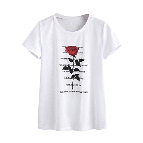 Preisvergleich Produktbild Mallorma® Frauen Rosen Buchstaben Druck T-Shirt Kurzarm Casual Tops Bluse Freizeit Urlaub Baumwolle Trainingsanzug sommer hausanzug (XL,  weiß)