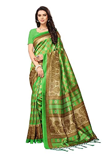 ding Saree indisch Ethnic Hochzeit Sari New Kleid Damen Casual Tuch Birthday Crop top mädchen Cotton Silk Women Plain Traditional Party wear Readymade Kostüm (Green) ()