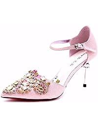 YIXINY Zapatos de tacón 6748 Spring Diamantes De Imitación De La Moda Fine Talón Del Zapato Poco Profundo Boca...