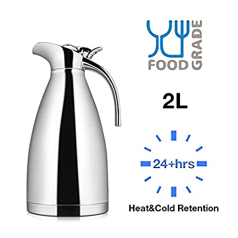 2.0 Litre 18/10 Food-grade Stainless Steel Thermal Carafe/Double Walled Vacuum Insulated Coffee Pot with Press Button Top,24+ Hrs Heat&Cold Retention,for Coffee,Tea,Beverage