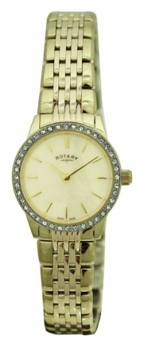 Rotary LB02338/07 Ladies Gold PVD Stainless Steel Bracelet Watch with Crystal Set Bezel