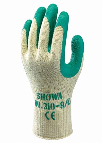 Showa 310M Green 10Gauge poliéster algodón Guante Con Revestimiento De Látex En la palma, M, Verde