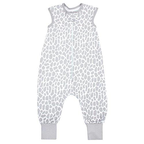 TupTam Unisex Babyschlafsack mit Beinen Unwattiert, Farbe: Giraffe Grau, Größe: 80-86