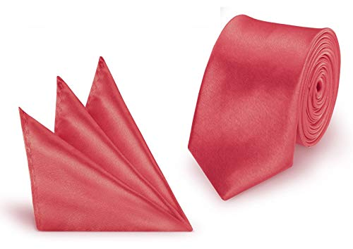 StickandShine Krawatte + Einstecktuch Lachs slim aus Polyester einfarbig uni schmale 5 cm -