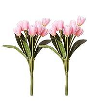 Fourwalls Beautiful Artificial Tulip Bunch (40 cm, 9 Flowers, Light Pink, Set of 2)