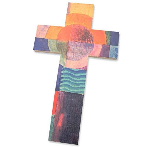 kruzifix24 Devotionalien Kinderkreuz Sonne aufgehend Bunt Bedruckt Holzkreuz Taufkreuz Geburt Wandkreuz für Kinder 20 x 12 cm