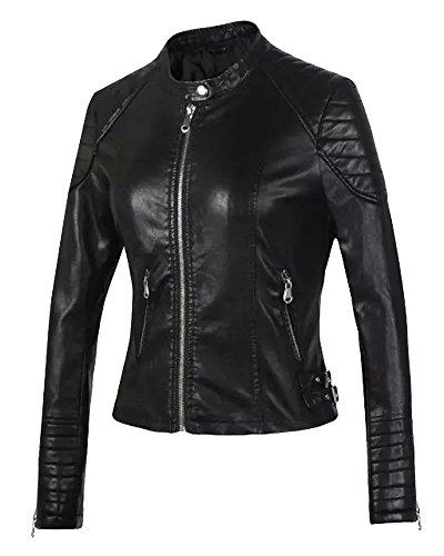 Femme Veste en Cuir Blousons Fermeture Éclair Manteau Slim Fit Court Veste De Moto Noir M