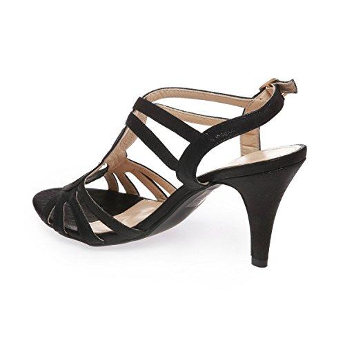 La Modeuse - Sandales à brides effet satiné Noir