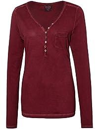 Urban Surface Damen Vintage Longsleeve mit Knöpfen | Leichtes basic Langarmshirt aus hochwertigem Jersey Material