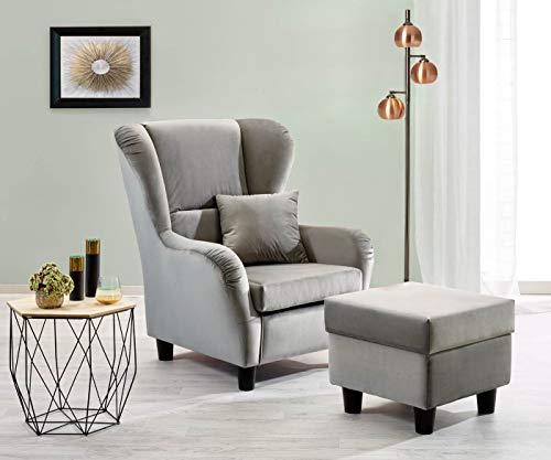 lifestyle4living Ohrensessel mit Hocker in grauem Samt bezogen   Der perfekte Sessel für entspannte, Lange Fernseh- und Leseabende. Abschalten und genießen!