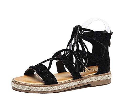 L&Y Women Open Toe Pumps 2017 Summer New Cross Strap Sandals Flat Fringed Roman Shoes Chaussures plates à grande taille ( Couleur : Le jaune , taille : 35 ) Noir