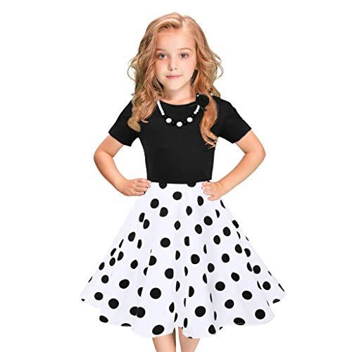 MRULIC Mädchen Abendkleid Vintage Kleid Party Kleid Kostüme Kleider Swing Rockabilly Kleider mit Halskette Größe 6-12 Jahre Kindergarten Uniform(1-Weiß,140)