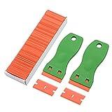 FOSHIO 2 Grün Kunststoff-Rasierklingen-Schaber mit konturierten Griff + 100 Pack 1,5 Zoll nachfüllbar Plastik-Rasierklingen zum Reinigen von Auto Window Tint-Vinyl-Abziehbild, Aufkleber und Farben