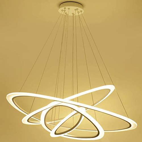 Lustre rond intelligent à quatre anneaux LED Nano Guide lumière Lampe de salon led éclairage de bureau éclairage de restaurant créatif 88 * 64 * 43 * 25 gradation progressive + télécommande
