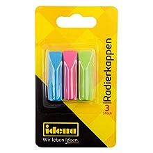 Idena 522227 Rubber Caps for Standard Pencils Orange/Turquoise/Pink