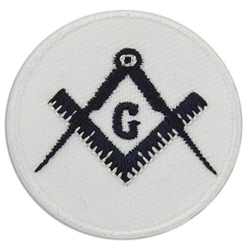 Aufnäher/Aufnäher Freimaurer, quadratisch, 3,8 cm Durchmesser, Schwarz/Weiß