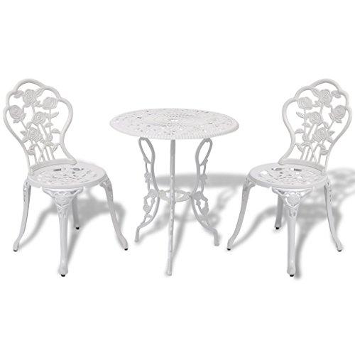 Anself 3tlg. Balkonmöbel Gartenmöbel Set mit Rose Muster 1xTisch + 2xStuhl 2 Farbe Optional