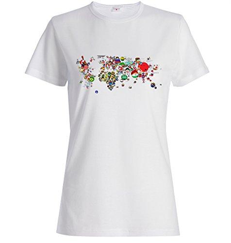 Carte drôle de monde meme t-shirt femme blanc imprimé (L), Vêtements
