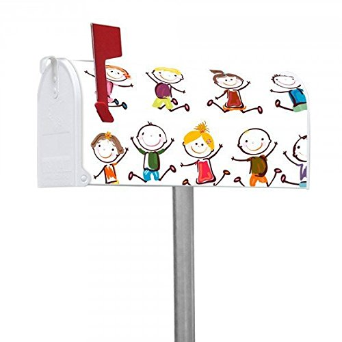 banjado-amerikanischer-briefkasten-us-mailbox-17x22x51cm-mit-motiv-und-stander-happy-kids