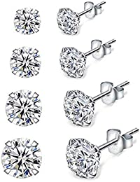 Shuxin Silver Stud Earrings for Women, 4 Pairs 925 Sterling Silver Cubic Zirconia Stud Earrings Set, Hypoallergenic Small Sleeper Cartilage Studs, with Clear 5A Cubic Zirconia, Size: 3, 4, 5, 6mm