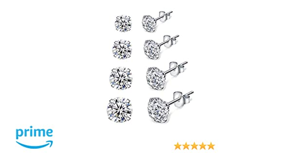 0d930a64c07f7 Dicheng Silver Stud Earrings for Women, 4 Pairs 925 Sterling Silver Cubic  Zirconia Stud Earrings Set, Hypoallergenic Small Sleeper Cartilage Studs,  ...