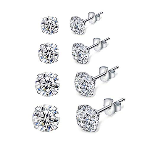 Dicheng Silver Stud Earrings for Women, 4 Pairs 925 Sterling Silver Cubic Zirconia Stud Earrings Set, Hypoallergenic Small Sleeper Cartilage Studs, with Clear 5A Cubic Zirconia, Size: 3, 4, 5, 6mm
