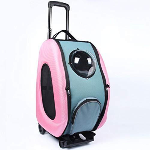 JYLJL Pet Trolley Bequeme Breathable Raumkapsel beweglicher Kleiner Hund Katze Tasche Pet Bag (Color : Pink) -
