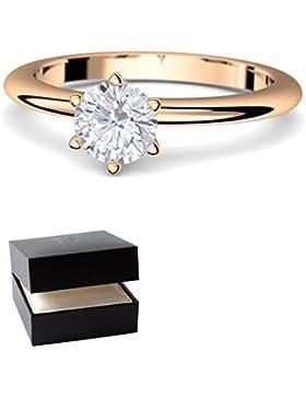 Rosegold Ring Verlobungsringe Rosegold (Silber 925 hochwertig vergoldet) von AMOONIC mit SWAROVSKI Zirkonia Stein...