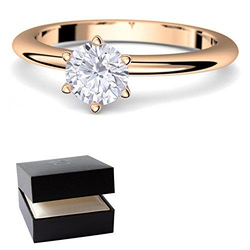 Rosegold Ring Verlobungsringe Rosegold (Silber 925 hochwertig vergoldet) von AMOONIC mit SWAROVSKI Zirkonia Stein +LUXUSETUI! Rosegoldring Zirkonia wie Diamant Echtschmuck wie Rotgold (Kostüm Kugelschreiber)