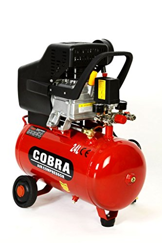 """POWER HOUSE COBRA AIR TOOLS 25L LITER AIR COMPRESSOR 9.5 CFM 2.5HP WITH FREE 5 PCS KIT(PAINT SPRAY GUN, PARAFFIN GUN, TYRE INFLATER, BLOW GUN AND HOSE) 8 BAR POWERFUL, 2 X FREE 1/4"""" QUICK RELEASE COUPLINGS WILL BE INC."""