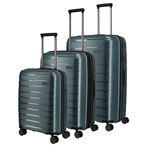 Travelite Hartschalen-Koffer-Serie 'AIR BASE' von travelite in 2 Farben: unverwüstlich, funktional, cool Koffer-Set, 77 cm, 213 L, Eisblau